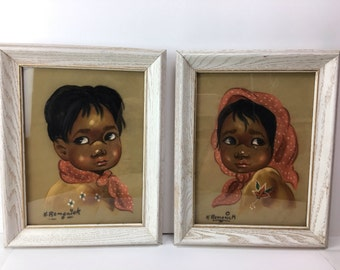 Vintage Velvet Paintings, 2 Sad eyed Childen 60's Pictures, Framed oil on velvet Children painting, Big eyes paintings