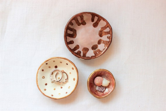 Set of 3 Trinket Dishes / Stackable / Rose Gold / Ceramic / Jewellery Dish / Handmade / Hand Painted