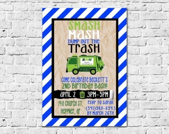 printable garbage truck birthday party invitation