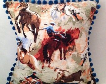 Bronco cowboy western retro fabric handmade blue pom pom cushion, pillow