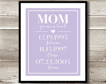 Mom You are So Loved; Digital Print; children's birthdates; important dates; mother's day gift; gift for mom
