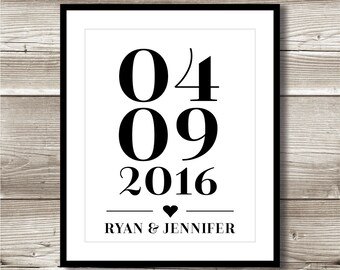 Wedding Date Digital Print; special date; bridal shower gift; wedding gift; wall art; gallery wall