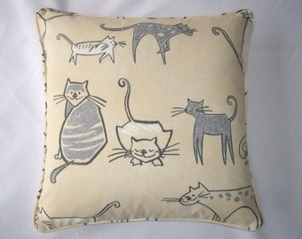 Cat cushion cover in grey, charcoal and cream, 16ins x 16ins.