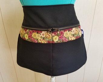 winter floria trim black waist apron