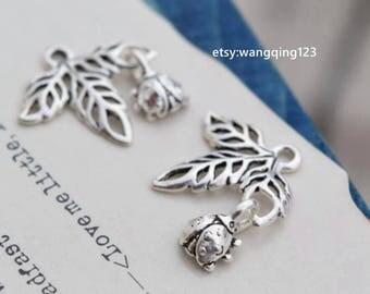 2 pcs sterling silver leaf ladybug charm pendant  QT20