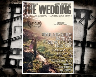 Custom Made Wedding Movie Poster Film Invitation Anniversary Engagement Party Cinema