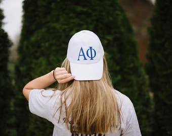 White Greek Hat | White Hat | Sorority Hat | White Greek Cap | White Ball Cap | Ball Cap | Travel Hat | White Sorority Hat