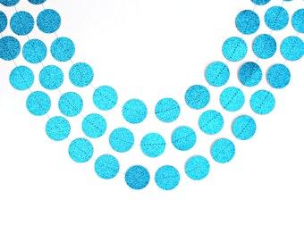 Sky Blue Glitter Circle Paper Garland, Blue Birthday Decorations, Light Blue  Wedding Decor,