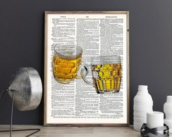 Beer Poster, Beer Print, Beer Art, Beer, Art Print, Wall Decor, Wall art, Dictionary Print, Instant Download, Printable art, Gift for him