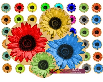"""Sunflower Embellishments 1"""" x 1"""", Printable Toppers, Sunflower Photography, Printable Art, Scrapbooking,Digital Download, Digital Sheets"""
