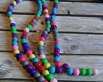 Bright Multi-Color Glass Beads, 8mm. #e-603