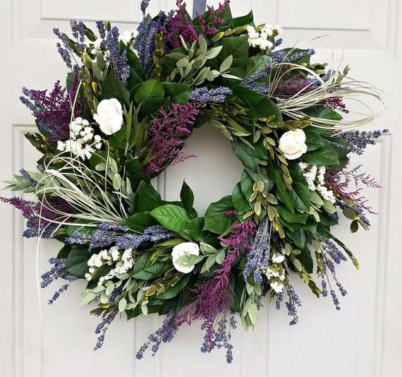 "Lavender wreath, 18"" wreath, preserved wreath, leaf wreath cream roses wreath, fragrant wreath, scented wreath, purple wreath"
