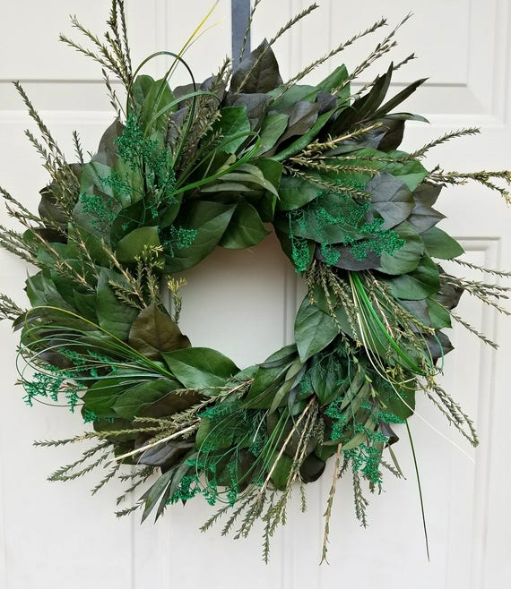 "Wreath, 16 "" wreath, leaf wreath, foliage wreath, decorative wreath, natural wreath. foliage wreath, salal wreath, small wreath"