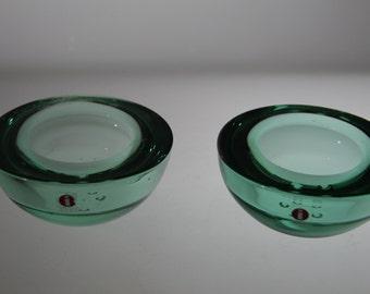 2 candle holders by  iitala Finnland, Finnish Glass, Scandinavian, tea lights