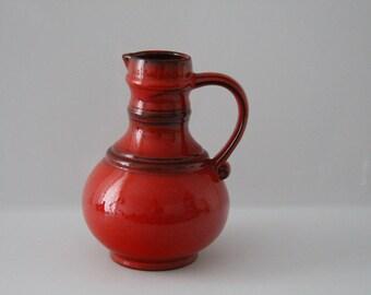 Lush red Jasba N0 878 12 21, retro vase, vintage, west german pottery, wgp