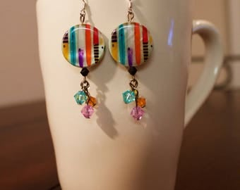 Funky Colorful Shell and Swarovski Bead Earrings