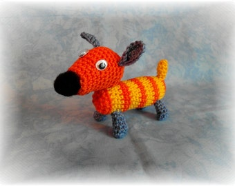 Dog Academy, Amigurumi, 1 x handmade, unique, 1-way jointed, handmade, spun, orange, yellow, OOAK