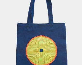Denim tote bag with kitenge decoration