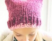 Girls Cat Ear Hat, Girl Cat Hat, Hat With Ears, Animal Ear Hat, Cat Ears, Pink Pussyhat, Kitty Hat, Pussy Hat, Cat Beanie, Pink Hat