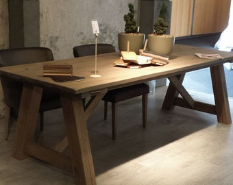 rustic style dining table and one benche 6x3...quality reclaimed timber ...solid wood..dining table
