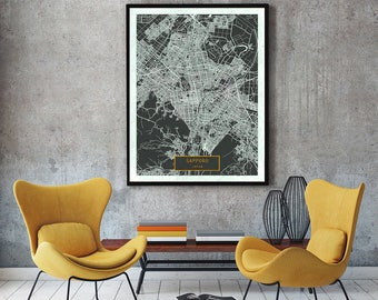 SAPPORO Japan CANVAS Large Art City Map Sapporo Japan Art Print poster map art jt Wall Art Home Decor JackTravelMap