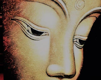 BUDDHA Painting in Gold/Yellow color in BLACK Background