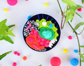 Free Shipping - Neon Embroidery Brooch - Bordado - Glow in the Dark Fabric Brooch - Colorful Brooch - Art to wear - Abstract Fabric Jewelry
