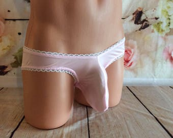 Pink Nylon Low-Rise Panties for Men