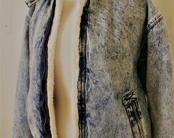 vintage acid-wash denim bomber jacket