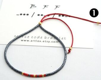 "Morse Code  ""BFF""  Bracelet,Morse Code Bracelet, Beaded Bracelet, Minimalist Bracelet, Friendship Bracelet, Beaded Bracelet, Boho"