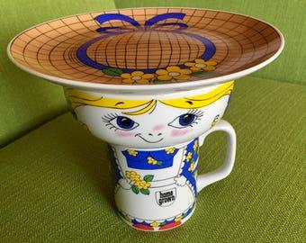 Vintage 70s Home Grown Leonard Fine Porcelain Stackable 3 Piece Serving Set with Original Box