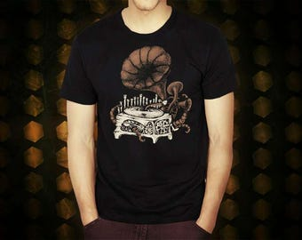 Steampunk Gramophone  black t shirt for men, screen printed men's short sleeve tee shirt, Size S, M, L, XL, XXL