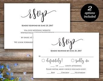 Rsvp Printable Card, Wedding Rsvp cards, Wedding response card, Rsvp online, Response insert, Editable PDF Template, Instant Download