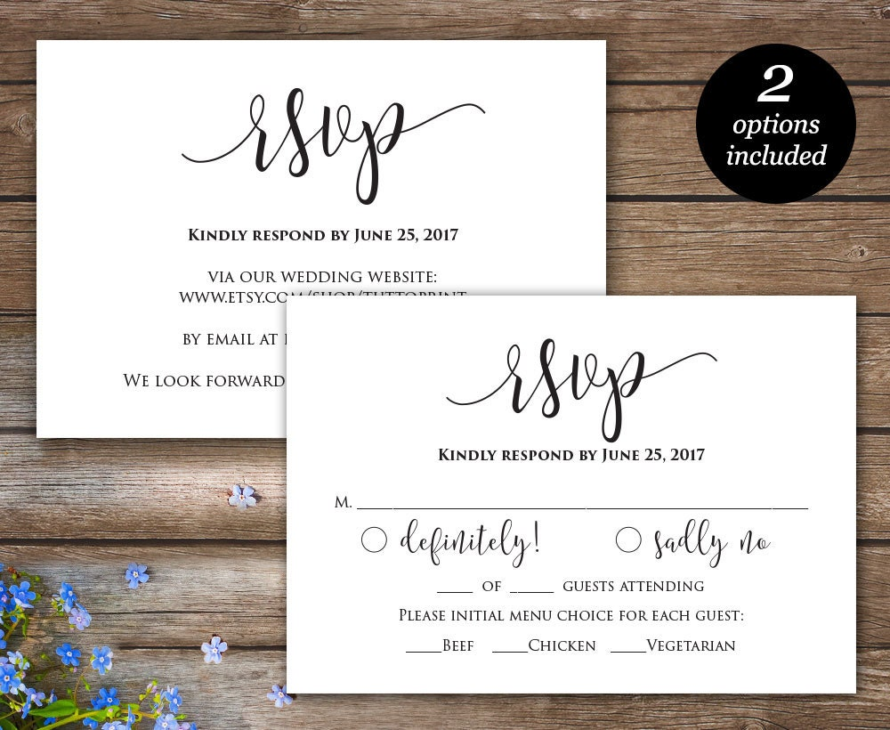 What Needs To Be Included In A Wedding Invitation: Rsvp Printable Card Wedding Rsvp Cards Wedding Response
