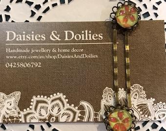Antique, vintage style, floral hair pins