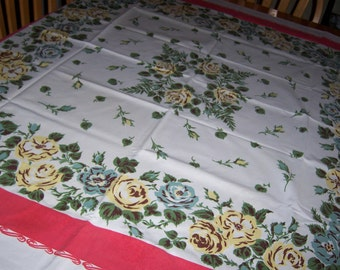 Teal and yellow roses vintage tablecloth