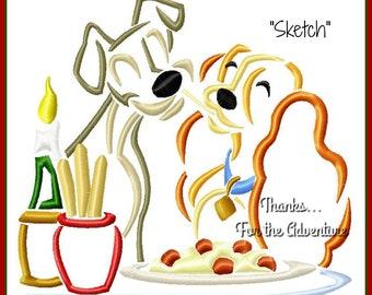 Lady and The Tramp Sketch Digital Embroidery Machine  Design File 4x4 5x7 6x10