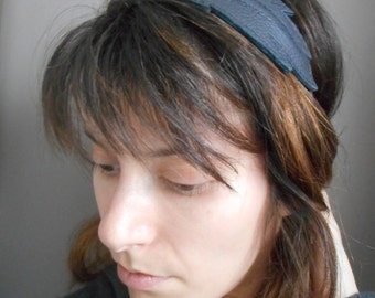 Headband(Banner), head-band black leather feather.