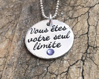 French Inspirational Necklace, Stamped Message Pendant, Custom Stamped Necklace