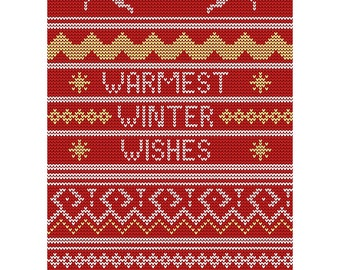 Christmas Card - Warmest Wishes Winter Xmas Jumper Blank Red Card CP3106