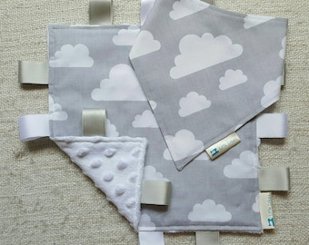 Grey Cloud Bib & Taggy Blanket Set