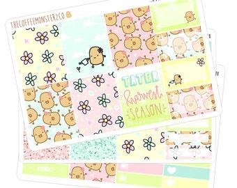 spring taters mini kit ( erin condren potato planner stickers )