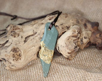 Slate necklace with gold flake, Kumihimo cord