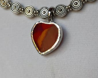 Red stained glass heart/Valentine pendant necklace