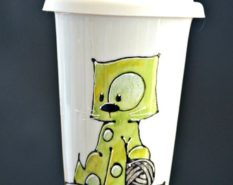 Travel green Kitty mug