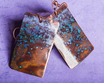 Rustic copper patina earrings, with purples, blues, greens and browns