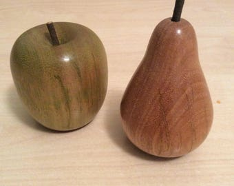 Turned wooden apple and pear, handmade from recycled Australian hardwood timber