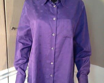SALVATORE FERRAGAMO purple cotton shirt