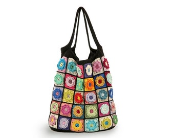Crochet tote bag, Crochet bag, Crochet handmade bag, Colorful shoulder bag, Colorful bag, knitted handbag, Flower handbag, Gift for her