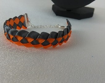 Bracelet braided man / orange and Grey/Ribbon satin